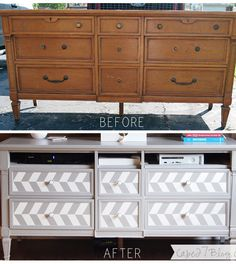 Give a Dresser a Makeover with a Herringbone Pattern