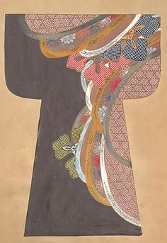 A page from a book of painted kosode [proto-kimono] designs. Second half of 17th century (1650-1700), Japan. Ink, color, gold and silver on paper. MET Museum (Purchase, Friends of Asian Art Gifts, 2004)