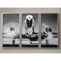 AIRPLANE TRIPTYCH, Vintage Aircraft, Vintage Airplane, Aviation... ($200) ❤ liked on Polyvore featuring home, home decor, wall art, photography posters, black and white posters, unframed wall art, black and white photography posters and horizontal wall art