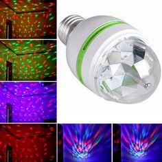 E27 3ワットカラフル自動回転rgb led電球ステージライトパーティーランプディスコ低熱ホームマジックボールステージライト効果ライト