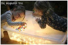 DIY Light Box for Sensory Play - The Imagination Tree DIY Light Box Activity for Sensory Play Using Christmas Lights Sensory Rooms, Autism Sensory, Sensory Table, Sensory Bins, Sensory Activities, Infant Activities, Activities For Kids, Motor Activities, Diy Sensory Toys