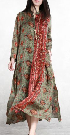 Loose stand collar silk outfit Catwalk green Plus Size prints spring coats Casual Summer Dresses, Summer Outfits Women, Casual Dresses For Women, Dress Shirts For Women, Clothes For Women, Cotton Long Dress, Pakistani Fashion Casual, Spring Coats, Women's Fashion Dresses