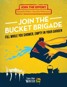 This poster has a vintage look that communicates a strong call to action. The graphic would not be as powerful without the movement that is created by the water splashing out from the bucket.