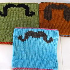 Double knit cowl w/mustache. Too cute for words!