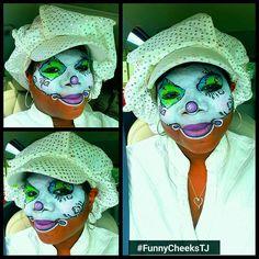 FUN Clown face painting design by FunnyCheeksTJ of Funny Cheeks TJ Dallas  #cuteclown #clown #clowntheme #circusthemeparty #CirqueDuSoleil #FunnyCheeksTJ #FunnyCheeksDallas #DallasFacePainter #kidsparties #GrandOpening #facepainting #facepaint #facepainter #ilovefacepainting #dallaskids #dfwkids #adultfacepainting #mymakeup #MyDesign