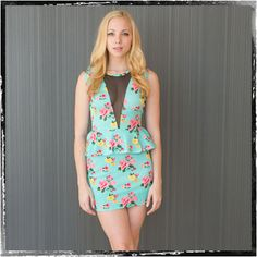 sexy peplum dress  $44.99 http://www.thealchemyshop.com/collections/dresses/products/elissa-s-aqua-floral-peplum-dress#
