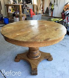 Pedestal Kitchen Table Makeover (Confessions of a Serial Do-it-Yourselfer) Dining Table Makeover, Round Pedestal Dining Table, Diy Dining Table, Oak Table, Dining Nook, Painted Kitchen Tables, Eat In Kitchen Table, Navy Kitchen, Painted Tables