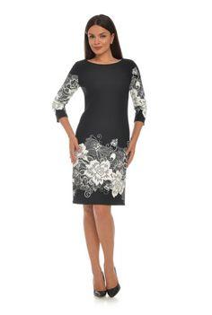 Rochie neagra cu imprimeu floral CSF-144