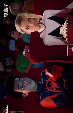 Spider-Man and Spider-Gwen at the movies by Castle Wyvern. He's just so used to it at this point it time he expects it. Black Spiderman, Spiderman Spider, Amazing Spiderman, Marvel Art, Marvel Dc Comics, Marvel Avengers, Gwen Spider, Spider Girl, Gwen Stacy