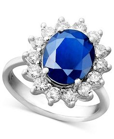 Royalty Inspired by Effy Collection 14k White Gold Ring, Sapphire (4-1/3 ct. t.w.) and Diamond (1 ct. t.w.) Oval Ring - Rings - Jewelry & Watches - Macy's
