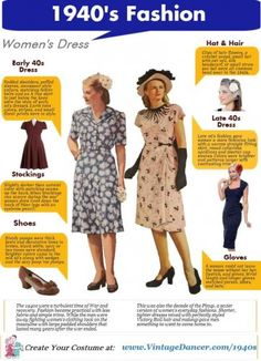 1940s Fashion guide. How to dress in early and late 1940s style clothing. Start with an A line or pinup wiggle dress and add chunky heels, a hat or hair flower, gloves and seamed stockings. Shop 1940s style clothes at #vintagedancer