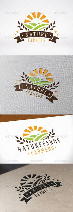Buy Green Farm Logo Template by BossTwinsMusic on GraphicRiver. - Three color version: color, greyscale and single color. - You can change text and col. Graphic, Farm Design, Plant Logos, Identity Design, Farm Logo Design, Logo Branding, Logo Templates, Sweet Logo, Logo Design