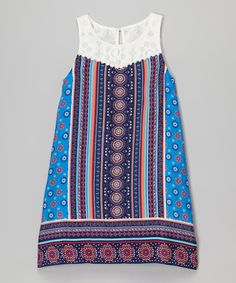 Look at this Zunie & Pinky Blue & Coral Medallion Lace Dress - Girls on #zulily today!