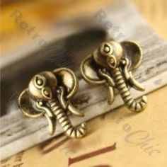 MINI INDIAN ELEPHANT studs STUD EARRINGS art deco style ETHNIC vintage brass
