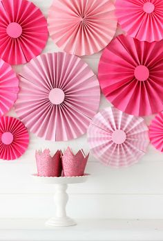pretty pink paper fans + mini pink glitter crowns.