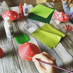 Crafting time with the kids. So many autumn themed ideas. Now we are making toadstools for our autumn display. Because I really think we need one... #crafting #kids #havingfun #autumn #toadstool #kidscrafts #moms