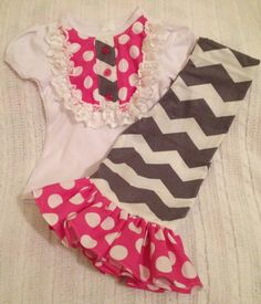 Size 24 MONTHS NeW iTeM GORGeOus PiNk GRaY CHEVRoN Girl Baby Toddler Outfit Ruffle Pants Lace Embellished Shirt Birthday Party via Etsy