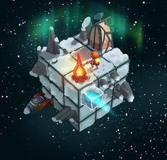 Cubiverse - Ice cube by Simone Mändl Cube World, Game 2d, Isometric Art, Pixel Art Games, Games Images, Wallpaper Iphone Disney, Game Concept Art, Environment Concept, Video Game Art
