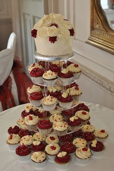 Burgundy and cream wedding cupcake tower- roses on top