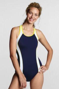 Women's AquaFitness Butterfly Scoop Control Splice One Piece Swimsuit from Lands' End
