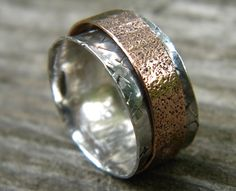Copper and sterling silver spinner ring / meditation ring sz 8.5. $38.00, via Etsy.    Oh my stars.