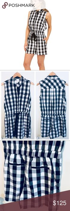 """[Kate Spade] Gingham romper Kate spade Broome street  Adorable gingham romper  Stretch waist  Button front collar detail  Like new condition  Worn by Zoey Deschanel on new girl  Inseam 3""""  Length 34.5"""" kate spade Pants Jumpsuits & Rompers"""