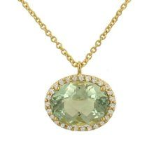 Green Diamond Shop are now presenting the fantastic Green Amethyst(1.96ct) Diamond(.08ct) Pendant on Chain for a slashed price. Don't miss out - buy the Green Amethyst(1.96ct) Diamond(.08ct) Pendant on Chain here now!