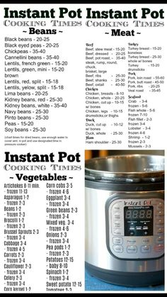 This pressure cooker time chart let's you know how long it takes to steam vegeta. This pressure cooker time chart let's you know how long it takes to steam vegetables or cook meat in your Instant Pot and it's free to print out too. Pressure Cooker Times, Power Pressure Cooker, Instant Pot Pressure Cooker, Instant Cooker, Pressure Pot, Pressure Cooker Pot Roast, Slow Cooker Times, Keto, Diet Food To Lose Weight