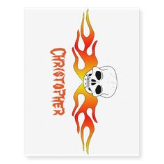 #Skull #Flames Just Add Name Temporary #Tattoos