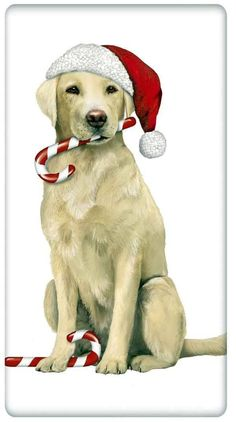 Peppermint Stick Yellow Labrador Retriever Dog 100% Cotton Flour Sack Dish Towel Tea Towel