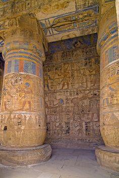 Egyptian Medinet Habu Temple Ramses Second Court Coloured Reliefs Colours Luxor