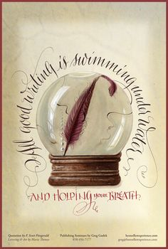 a good writing is swimming under water and holding your breath - Maria Thomas ~ calligraphy Calligraphy Words, Penmanship, Typography Letters, Typography Prints, Caligraphy, Lettering Design, Illuminated Letters, Illuminated Manuscript, Fancy Letters