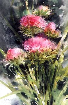 "Vintage French Soul ~ ""Thistles,"" watercolor by Morten E Solberg Sr. Watercolor Artists, Watercolor Techniques, Watercolor Cards, Watercolour Painting, Watercolor Flowers, Watercolors, Art Floral, Painting Inspiration, Flower Art"