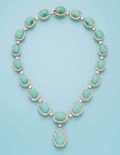 A TURQUOISE AND DIAMOND NECKLACE, BY VAN CLEEF & ARPELS Designed as eighteen oval-shaped cabochon turquoise and brilliant-cut diamond clusters suspending a similar pear-shaped pendant