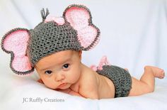 Baby GIrl Elephant Photo Prop Hat and Diaper by JCRufflyCreations, $31.99