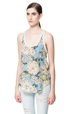 FLORAL COMBINATION TANK TOP - T-shirts - Woman - ZARA United States