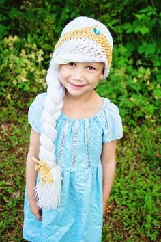 Snow Queen Elsa Inspired Frozen Coronation Crochet Hat Pattern With Side Braid - Elsa Costume