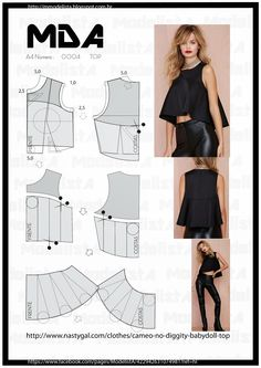 ModelistA Nice flow drape of blouse Diy Clothing, Sewing Clothes, Dress Sewing Patterns, Clothing Patterns, Fashion Sewing, Diy Fashion, Costura Fashion, Modelista, Top Pattern