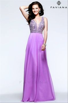 Orchid Faviana S7500 Beaded V Neck Long Prom Gowns