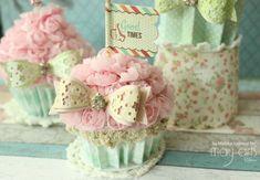 Handmade Shabby Faux Cupcakes