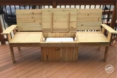 A bench. A cooler. The most amazing Cooler Bench you've ever seen. Check out these free DIY-friendly plans. Outdoor Cooler, Diy Outdoor Bar, Diy Outdoor Furniture, Furniture Projects, Diy Furniture, Pallet Projects, Backyard Projects, Diy Projects, Backyard Play
