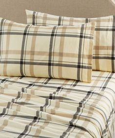 Another great find on #zulily! Flax Plaid Flannel Sheet Set #zulilyfinds