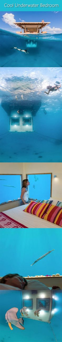 Cool Underwater Bedroom..Innovative floating hotel at the Manta Resort allows people to appreciate the beauty of the ocean from the comfort of a private underwater room.