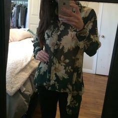 Green, and tan floral top. It's 100% polyester I got this from urban outfitters. Urban Outfitters Tops