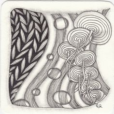 Zentangle from Patterns: Strircles, Sedgling, Zag V. Zentangle drawn by Ela Rieger, CZT.