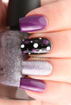 Purple, Silver and Black Skittlette: Random Untried: Never-ending Pile Challenge Nails 2016, Fun Nail Designs, Purple Nail Designs, Accent Nail Designs, Winter Nail Designs, Black And White Nail Designs, Acrylic Nail Designs, Simple Designs, Black And Purple Nails