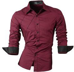 jeansian Uomo Camicie Maniche Lunghe Moda Men Shirts Slim…