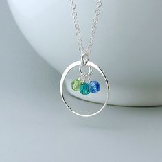 Mother's Necklace, Eternity Circle, Birthstone, Sterling Silver, mom necklace, mothers day, grandma jewelry on Etsy, $29.50