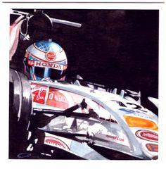 Jenson Button. Watercolour. http://www.thegalleryofspeed.com/ #motorsport #f1 #automotive #formula #one #race #car #lemans #btcc #le #mans #auto #art #mcqueen #steve #bullitt #mustang