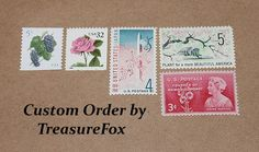 Reserved Custom Order for Jackie. Unused Vintage US Postage Stamps for mailing wedding invitations by TreasureFox on Etsy